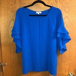 Royal blue ruffle sleeve blouse